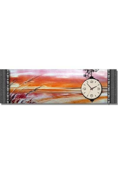 Dekoratifmarket 5 cm Kabartma Çerçeveli Duvar Saati-Burçaklar Kanvas Tablo