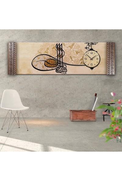 Dekoratifmarket Tuğra Desenli Saatli Kanvas Tablo, Yanlardan Çerçeveli
