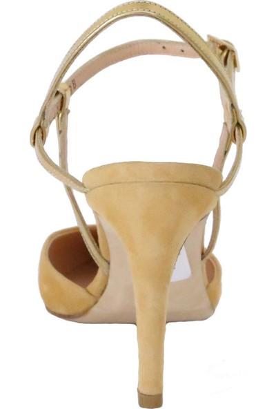 Butigma Hardal Süet Deri Sivri Burun Topuklu Sandalet - Kadın