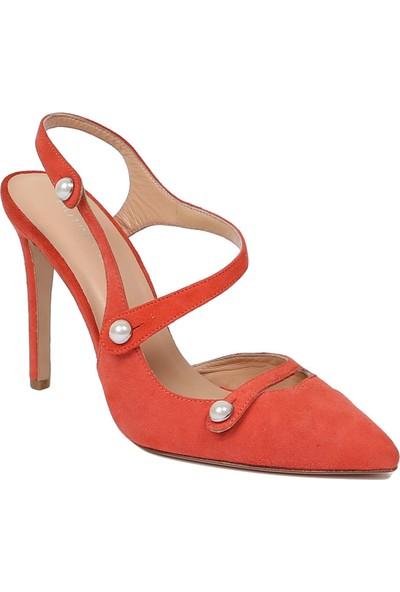 Butigma Narçiçeği Süet Deri İnci Düğmeli Sivri Burun Topuklu Sandalet - Kadın