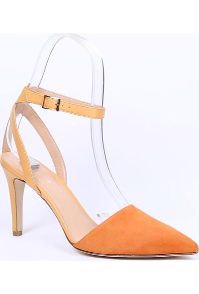 Butigma Turuncu Süet Deri Bilekten Bağlamalı Sivri Burun Topuklu Sandalet - Kadın