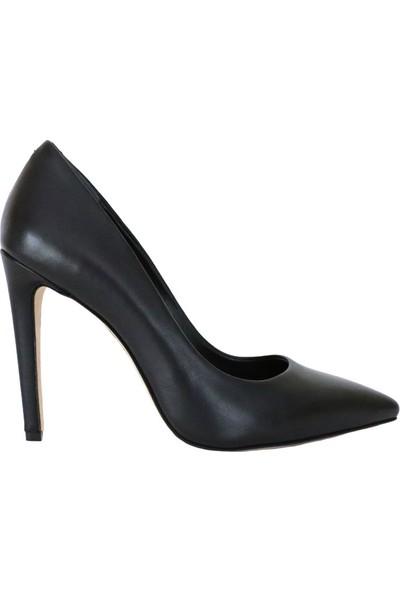Butigma Siyah Deri Sivri Burun Yüksek Topuklu Ayakkabı - Stiletto - Kadın