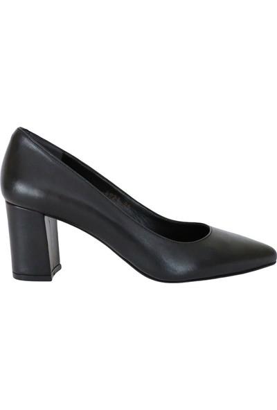 Butigma Siyah Deri Orta Boy Kalın Topuklu Ayakkabı - Kadın