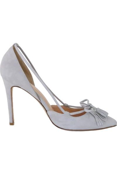 Butigma Gri Süet Deri Sivri Burun Püskül Bağlamalı Topuklu Ayakkabı - Kadın