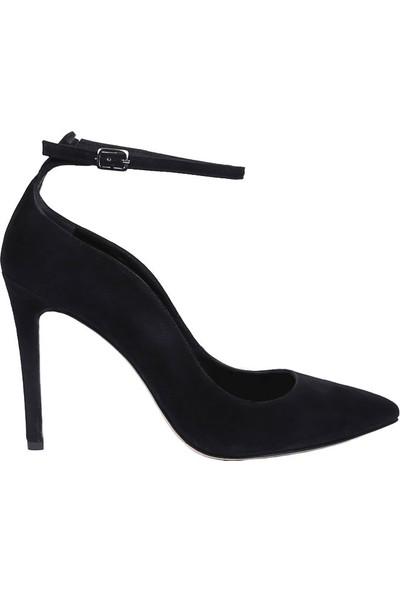 Butigma Siyah Süet Deri Bilekten Bağlamalı Yüksek Topuklu Ayakkabı - Kadın
