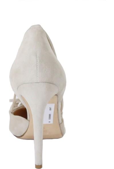 Butigma Bej Süet Deri Sivri Burun Püskül Bağlamalı Topuklu Ayakkabı - Kadın