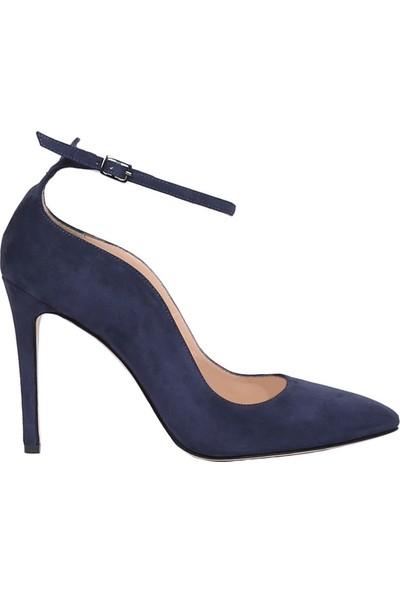 Butigma Lacivert Süet Deri Bilekten Bağlamalı Yüksek Topuklu Ayakkabı - Kadın