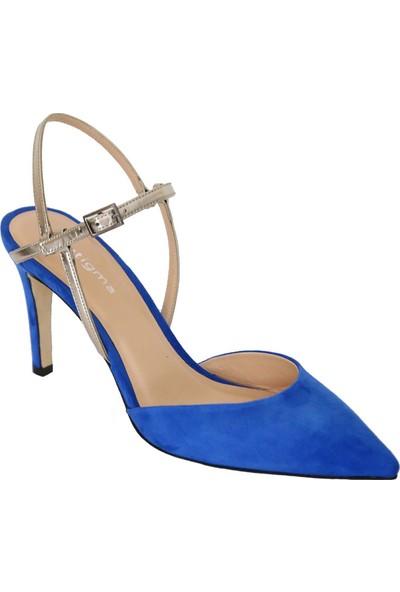 Butigma Sax Mavi Süet Deri Sivri Burun Topuklu Sandalet - Kadın