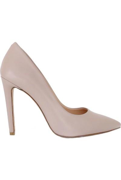 Butigma Bej Deri Sivri Burun Yüksek Topuklu Ayakkabı - Stiletto - Kadın