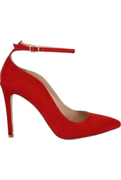 Butigma Kırmızı Süet Deri Bilekten Bağlamalı Yüksek Topuklu Ayakkabı - Kadın