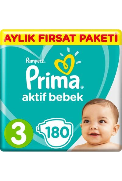Prima Bebek Bezi Aktif Bebek 3 Beden 180 Adet Midi Aylık Fırsat Paketi