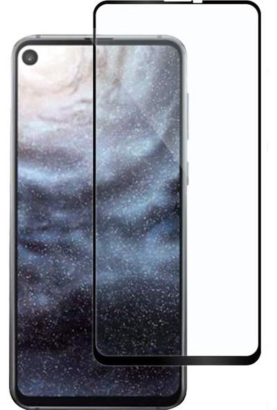 Case 4U Samsung Galaxy A8S 5D Kavisli Temperli Cam Ekran Koruyucu Film Siyah