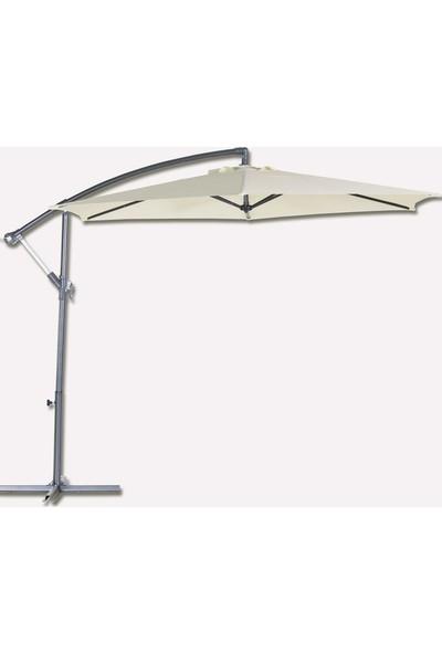 Bidesenal Ampul Şemsiye Bahçe Balkon Teras Şemsiyesi Makaralı Şemsiye Muz Şemsiye 3 Metrelik Krem Renkli