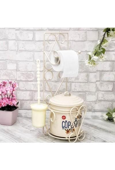 Tuvalet Kağıdı Askısı Tuvalet Fırçası Ve Çöp Kovası Seti - Krem