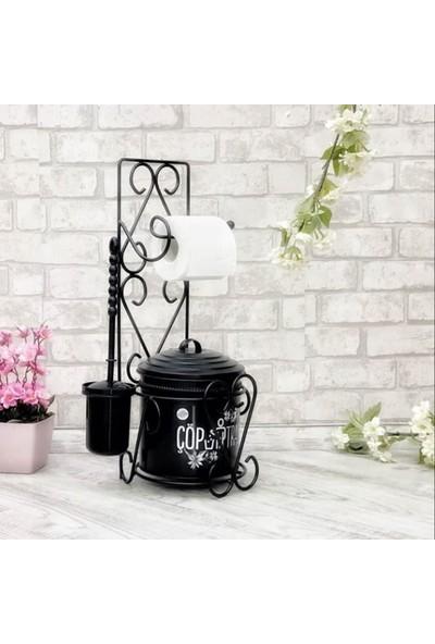Tuvalet Kağıdı Askısı Tuvalet Fırçası Ve Çöp Kovası Seti - Siyah