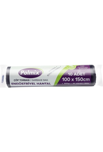 Polmix Endüstriyel Hantal Çöp Poşeti 100X150 Cm - 20 Rulo - 200' lü- 1 Koli