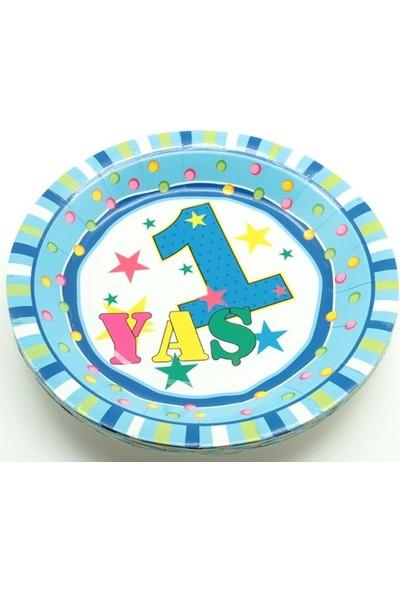 Sevinç 8'li 1 Yaş Karton Tabak Mavi Süsleme Doğum Günleri İçin