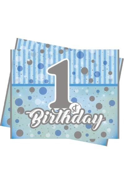 Sevinç 1 Yaş Mavi Masa Örtüsü 120 x 180 cm Parti Ve Doğum Günü Süsleme
