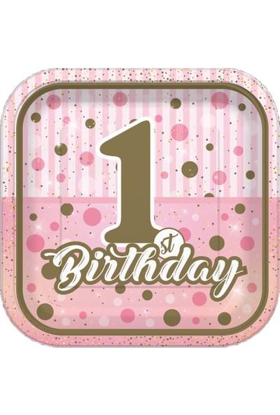 Sevinç 8'li 1 Yaş Karton Tabak Pembe Süsleme Doğum Günleri İçin