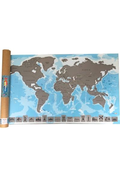 Mapofx Gez-Kazı Harita - Kazınabilir Dünya Haritası (Mavi)