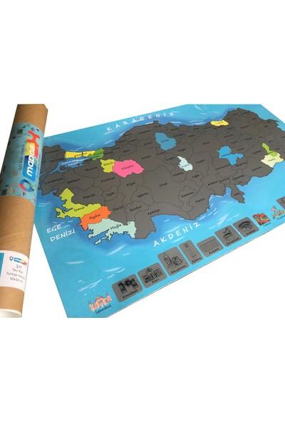 Mapofx Gez-Kazı Harita - Kazınabilir Türkiye Haritası (Mavi)