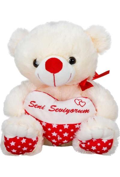 Puffy Friends Seni Seviyorum Yazılı Kalpli 38 cm Oturan Peluş Oyuncak Ayı