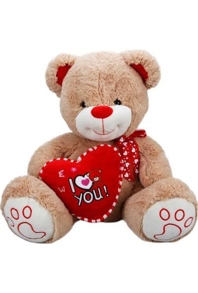 Puffy Friends Kurdelalı ve Kırmızı Kalpli 60 cm Oturan Kahverengi Peluş Oyuncak Ayı