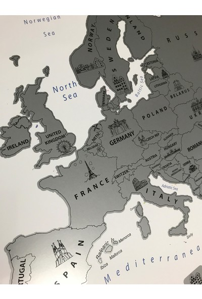 Mapofx Gez - Kazı Harita - Kazınabilir Avrupa Haritası - Scracth Map
