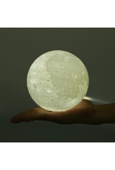 3dcini Ledli Ay Küre Gece Lambası- 3D Baskı 12 Cm