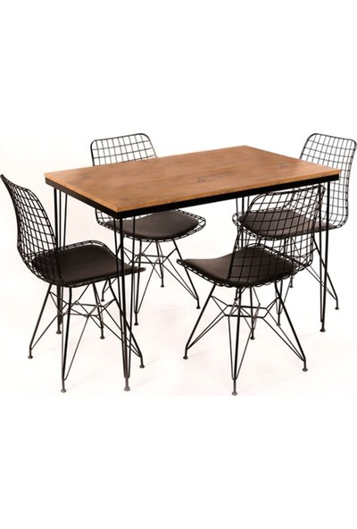 Moon Design Rustik Tel Ayaklı Masa Sandalye Takımı - Ceviz Desenli