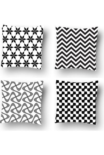 Tezkotekstil Siyah Şıklık Geometrik 4'lü Kombin Dekoratif Yastık Kırlent Kılıfı