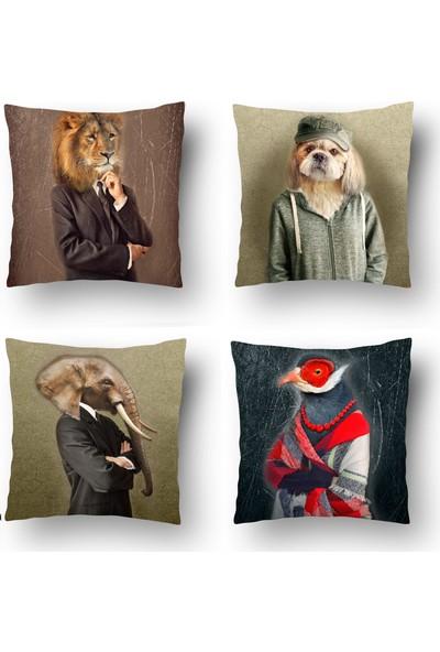 Tezkotekstil Kostümlü Hayvanlar 4'lü Kombin Dekoratif Yastık Kırlent Kılıfı