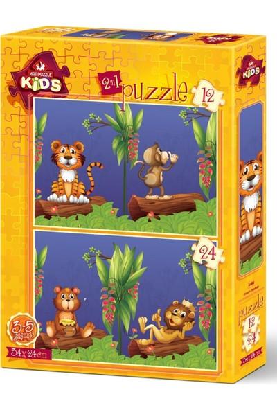 Art Çocuk Puzzle Orman Dostları 12+24 Parça Puzzle