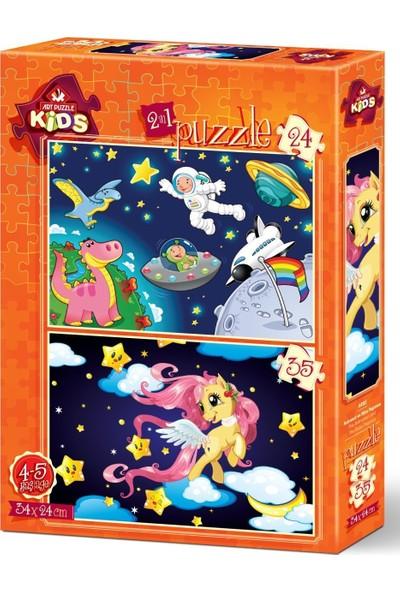 Art Çocuk Puzzle Astronot ve Mini Pegasus 24+35 Parça Puzzle