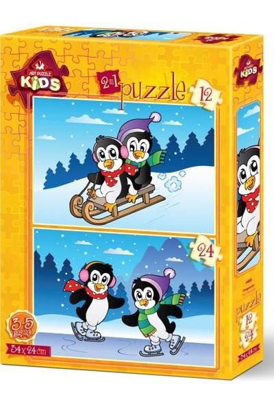 Art Çocuk Puzzle Penguenler 12+24 Parça Puzzle