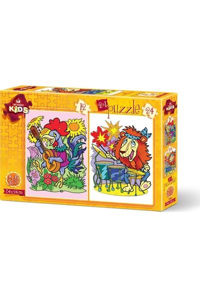 Art Çocuk Puzzle Müzisyen Hayvanlar 12+24 Parça Puzzle