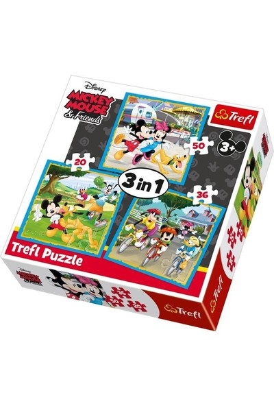 Trefl Çocuk Puzzle Mickey Mouse with Friends / Disney St 20+36+50 Parça 3 in 1 Puzzle
