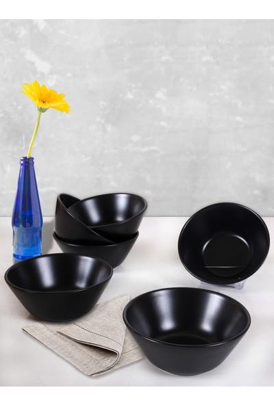 Keramika Mat Siyah Hitit Çorba Kasesi 14 Cm 6 Adet
