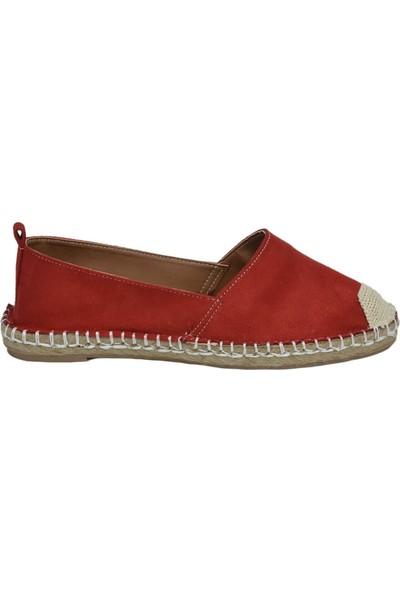 David Jones Kadın Espadril Ayakkabı Kırmızı Süet