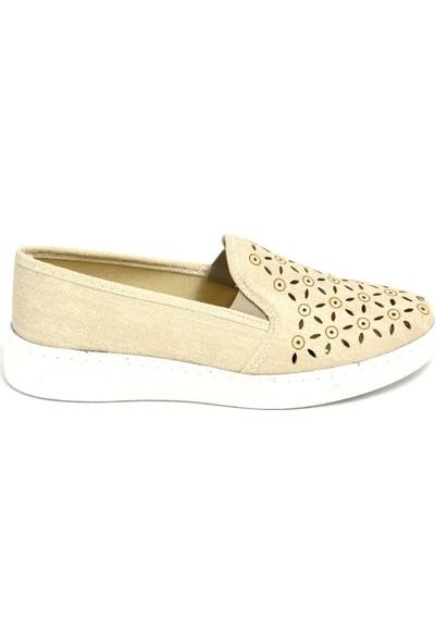 David Jones Kadın Lazer Kesim Ayakkabı Bej