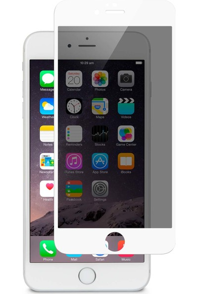 AkseStore Apple iPhone 6 Plus Gizli 5D Hayalet Ekran Koruyucu Cam (Beyaz)