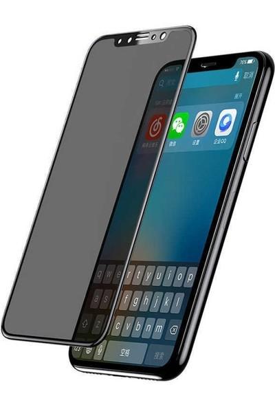 AkseStore Apple iPhone X Gizli 5D Hayalet Ekran Koruyucu Cam (Siyah)