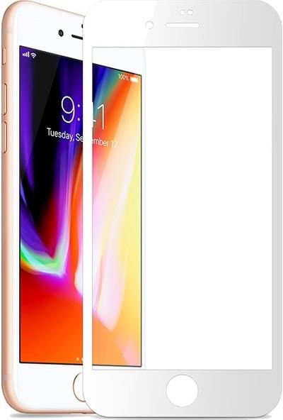 AkseStore Apple iPhone 8 Plus Gerçek 5D Kavisli Ekran Koruyucu Cam (Beyaz)