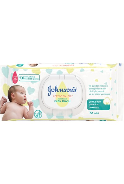 Johnson's Baby Islak Mendil Cotton Touch Yenidoğan 72'li