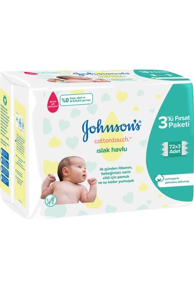 Johnson's Baby Islak Mendil Cotton Touch Yenidoğan Ekopaket 3 x 72'li