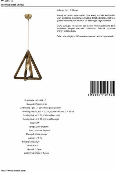 AVONNI AV-1655-1E Eskitme Kaplama Modern Avize E27 Metal Ahşap 30cm