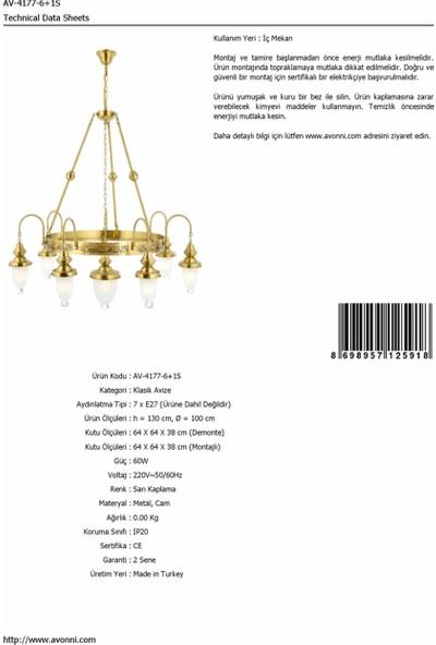 AVONNI AV-4177-6+1S Sarı Kaplama Klasik Avize E27 Metal Cam 100cm