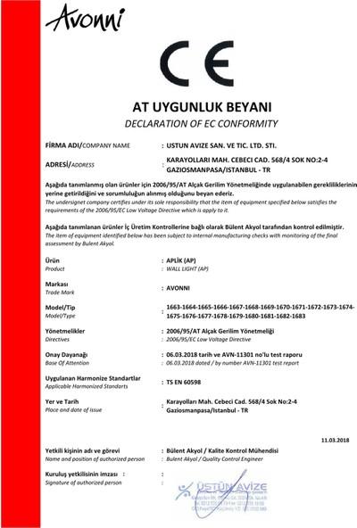AVONNI AP-60052-1E Eskitme Kaplama Aplik E27 Metal Cam 25x20cm