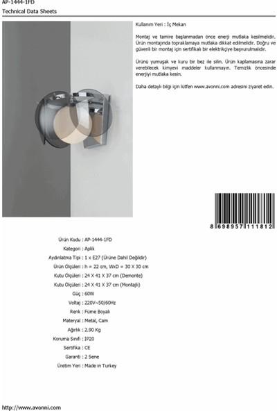 Avonni AP-1444-1FD Füme Boyalı Aplik
