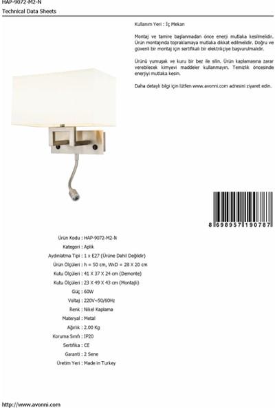 AVONNI HAP-9072-M2-N Nikel Kaplama Aplik E27 Metal 28x20cm